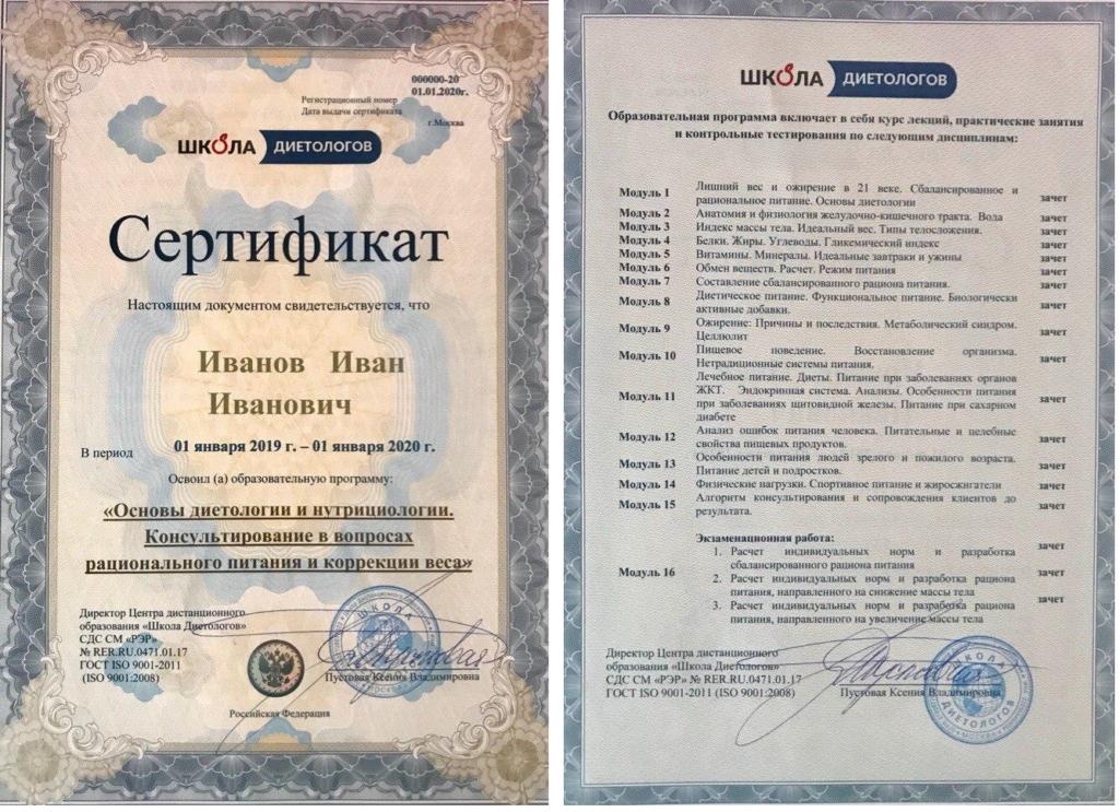 Образец сертификата об окончании курса обучения в Школе Диетологов
